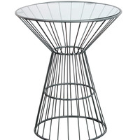 Wire Framed Side Table with Glass Top