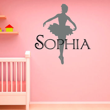 Ballerina Wall Decals Vinyl Sticker Girls Name Personalized Custom Decals Ballet Dance Studio Art Home Decor Girls Bedroom Nursery Dorm M023