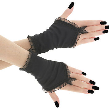 Black short fingerless gloves, romantic wedding wrist warmers, womens evening gloves, bridal goth glove, victorian lolita glove  0795B