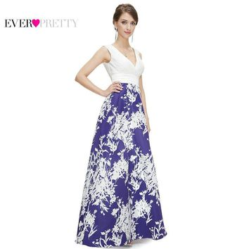 Prom Dresses Ever Pretty New Arrival EP08389 Women's Sexy V-neck Ruched Long Blue Prom Dresses Vestidos Party Dresses