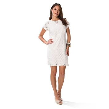 Eyelet Shift Dress in White by Sail to Sable - FINAL SALE
