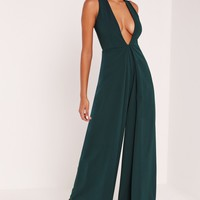 Missguided - Crepe Origami Detail Jumpsuit Green