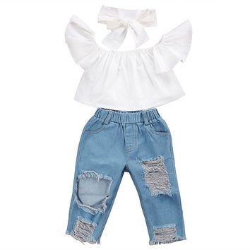 Off shoulder Crop Tops + Hole Denim Pant Jean Headband