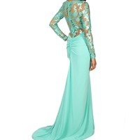 Sale-arlene-mint Long Sleeve Sequined Dress
