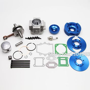PERFORMANCE 44MM BIG BORE TOP END KIT FOR ATV POCKET BIKE 49CC 2 STROKE STAGE 3 BLUE NEW