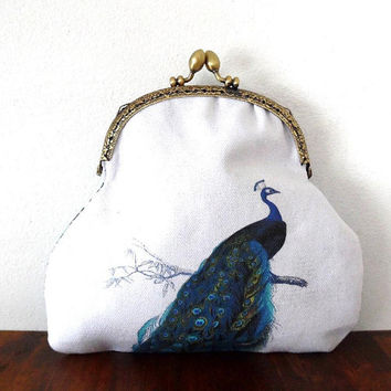 Peacock bird purse / nouveau style / cotton / silky / floral / lined / bronze tone / embossed / gift / cosmetics bag / large clasp purse