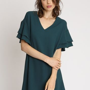 Genevieve Flounce Sleeve Shift Dress | Ruche