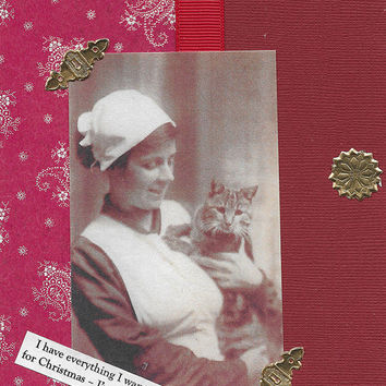 Etsy CIJ Sale Christmas Card for Cat Lovers - Victorian Vintage Style - Kitty, You Mean Everything to Me