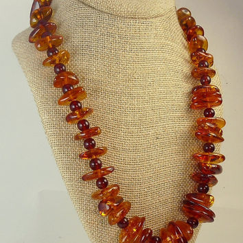 Vintage Chunky Nugget Faux Amber Necklace Lucite Amber