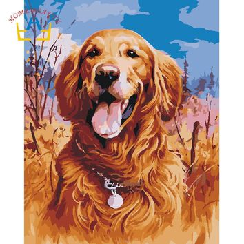 Animals dog pictures for draw by numbers on canvas with acrylic paints wall art paintings for living room home decor gift WR042