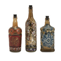 Reclaimed Hand-Painted Bottles - Set of 3
