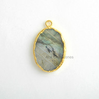 Handmade Labradorite Slice Bezel Station Micron Gold Plated Sterling Silver Bezel Connector and Charm, 1 piece