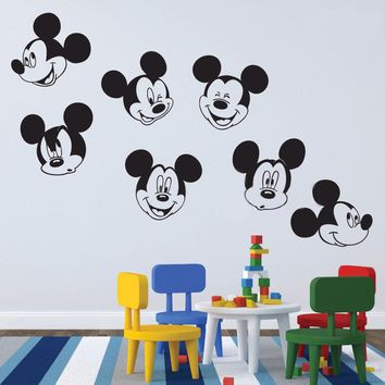 Wall Decals Mickey Mouse Various Faces Decals Boys Girls Bedroom Wall Decal Nursery Bathroom Wall Sticker X319