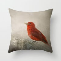 Song of the Summer Tanager 1 - Birds Throw Pillow by Jai Johnson