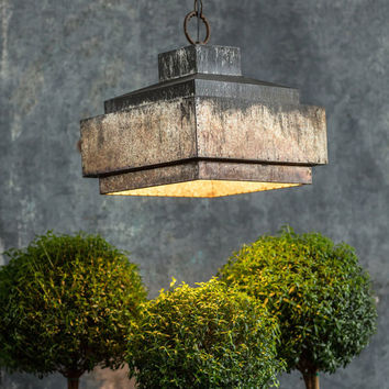 Industrial Pyramid Pendant Lamp with Ceiling Canopy 12-in
