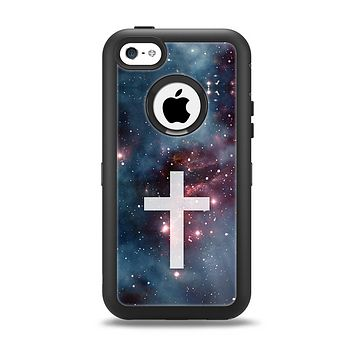 The Vector White Cross v2 over Red Nebula Apple iPhone 5c Otterbox Defender Case Skin Set