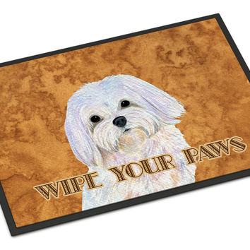 Puppy Cut Maltese Wipe your Paws Indoor or Outdoor Mat 18x27 SS4897MAT