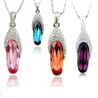 Gorgeous Austrian Crystal Glass Gemstone on Sterling Silver Necklace-Color Purple