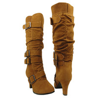 Womens Knee High Boots Leather Knitted Cuff Buckles Low Heel Shoes Tan