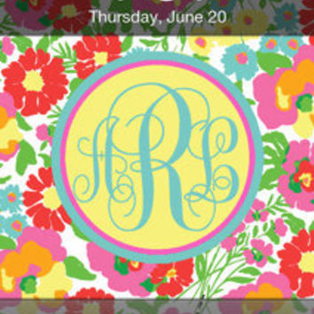 Lilly Pulitzer Inspired Personalized Monogram iPhone Background -- Garden By The Sea --