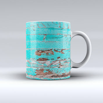 The Turquoise Chipped Paint on Wood ink-Fuzed Ceramic Coffee Mug