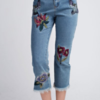 Embroidered Raw Edge Jeans
