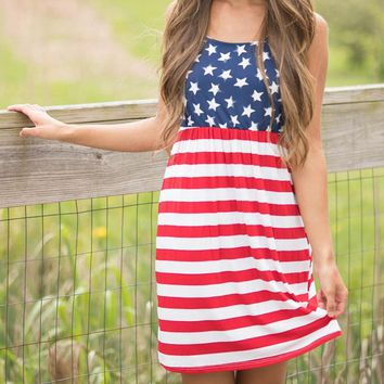 Hot - American Flag Printed Women's Cotton Mini Dress - Sexy - Vintage - Sleeveless