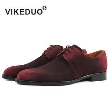Vikeduo Handmade 2017 Zapatillas Hombre Luxury Flat Fashion Suede Designer Lace-up Dress Party Genuine Leather Men Derby Shoes