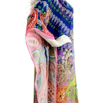 Pixie dress, kaftan, kaftan dress, silk caftan, purple paisley kaftan, caftan, MULTICOLOR embellished dress