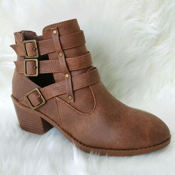 Women's Tan Short Boots with Open Design and Buckles Detail