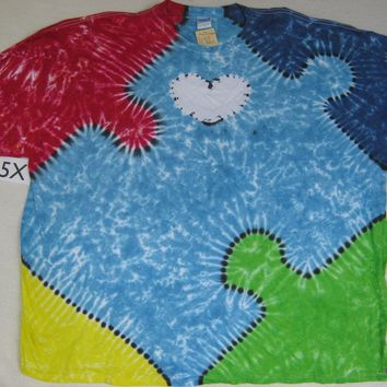 5X Tie-Dye Puzzle Piece tee Autism Awareness (heart on sleeve)                        456