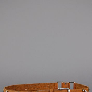 Live Free Pyramid Studded Genuine Leather Belt