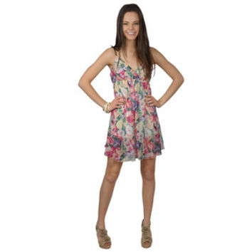 Journee Collection Juniors Empire Waist Floral Print Tunic Dress | Overstock.com