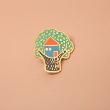 Treehouse Pin, Hard Enamel, Enamel Pin, Lapel Pin, Pin Badge, Flair, Brooch, Badge, Collar Pin