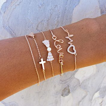 Love Cross Bow Bracelet Set