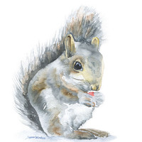 Squirrel Original Watercolor Painting 8x10 Nursery Fine Art