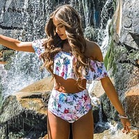 High Waist Off Shoulder Bikini
