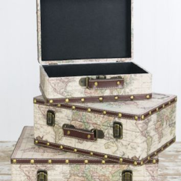 Set of 3 Vintage Travel World Map suitcase set Photo Prop - PR17671