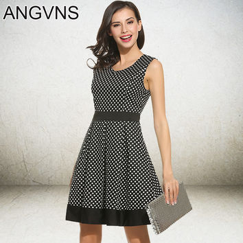 ANGVNS Dot Vintage Dress Lady Summer Retro 1950s 60s Big Swing Women Tunic Short Fit and Flare Work Dress vestidos de trabajo de
