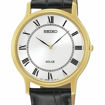 Seiko Solar Mens Watch - Gold-Tone Case - White Dial  - Black Leather Strap