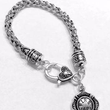Fire Dept Firefighter Maltese Gift Fireman Wife Daughter Mom Charm Bracelet
