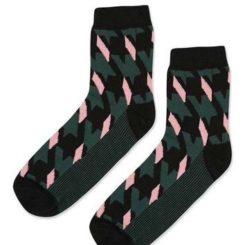 Houndstooth Print Ankle Socks