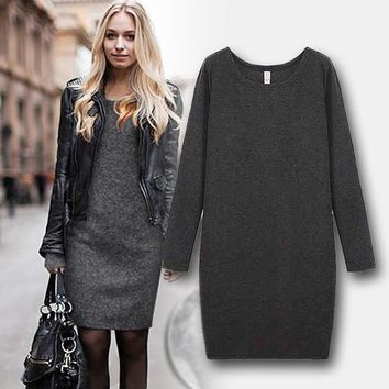 Winter Womens Dresses Casual Long Sleeve Thick Velvet Crew Neck Warm Dress Plus Size Dress
