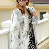 Genuine Rabbit Fur Coat Md-long Women Natural Sliced Jacket 2016 New Winter Outerwear Apparel Clothing Knitted Thick Warm ZL3319