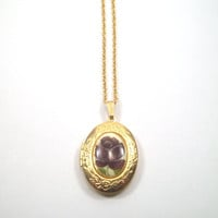 Vintage Gold Finished Rose Locket 24 inch Chain
