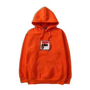 FILA autumn and winter tide brand men and women models hooded sweater orange