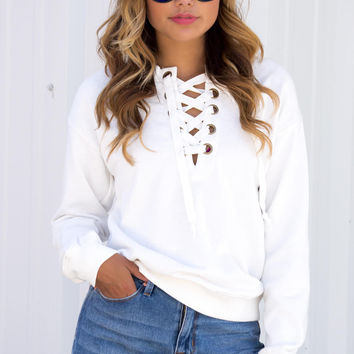 Lace Neck Long Sleeve Top