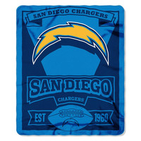 San Diego Chargers NFL Light Weight Fleece Blanket (Marque Series) (50inx60in)
