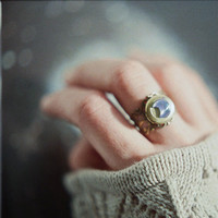 Adjustable vintage brass locket ring with blue iridescent crescent moon cabochon - the Moonlight Traveller