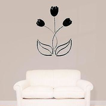 Wall Stickers Vinyl Decal Flower Black Tulip Floral Decor Living Room Unique Gift (z1805)